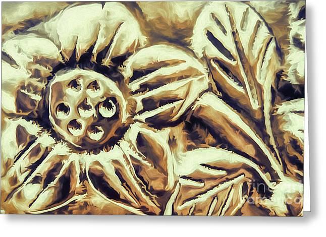 Bronze Flower Greeting Card by Jean OKeeffe Macro Abundance Art