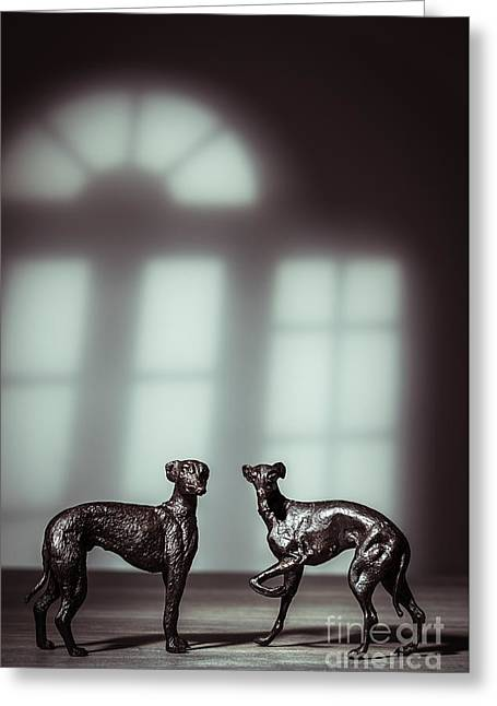 Bronze Greyhound Figures Greeting Card by Amanda Elwell