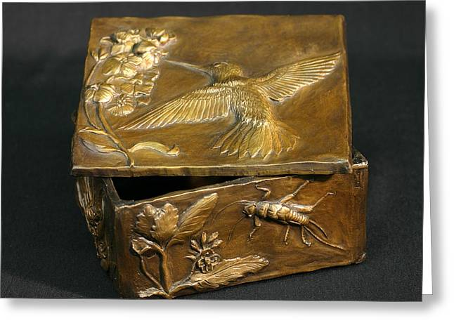 Animals Reliefs Greeting Cards - Bronze Hummingbird Box Greeting Card by Dawn Senior-Trask
