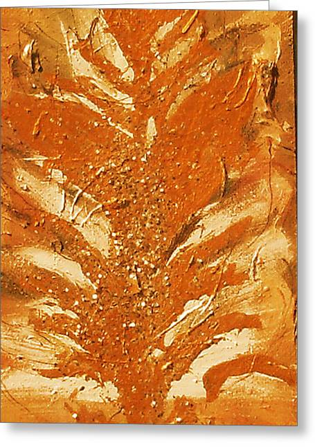Wood Panel Ceramics Greeting Cards - Bronze Roots II Greeting Card by Anne-Elizabeth Whiteway