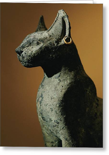 Bronze Statue Of Cat Representing Greeting Card by Kenneth Garrett