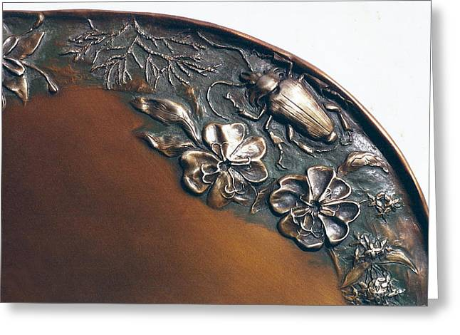 Bronze Tray Detail With Beetle Greeting Card by Dawn Senior-Trask