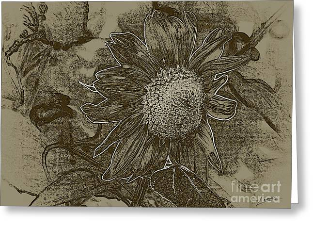 Bronzed Out Sunflower Greeting Card