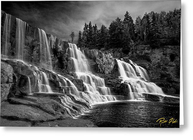 Greeting Card featuring the photograph Brooding Gooseberry Falls by Rikk Flohr