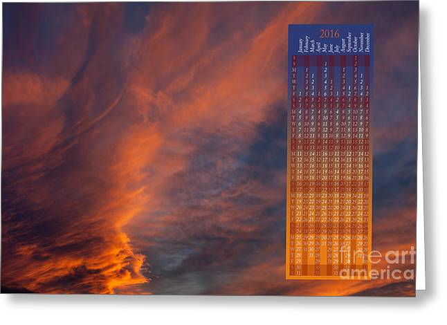 Brooding Orange Annual Calendar2016 Greeting Card by Arletta Cwalina