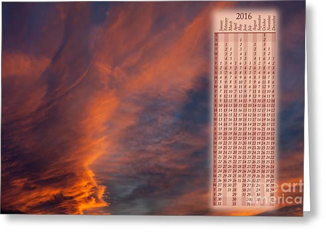 Brooding Orange Sunset Calendar2016 Greeting Card