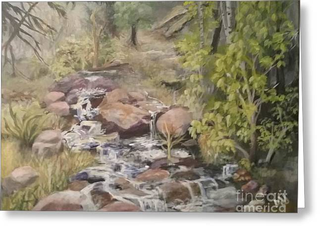 Greeting Card featuring the painting Brook by Saundra Johnson