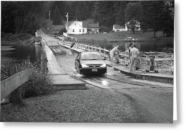 Greeting Card featuring the photograph Brookfield, Vt - Floating Bridge 3 Bw by Frank Romeo
