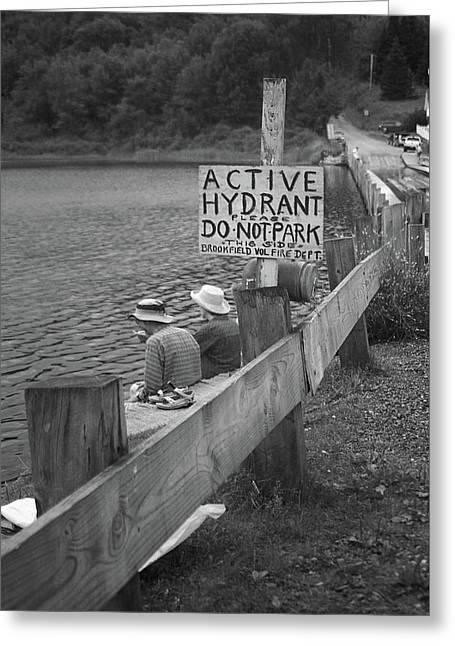 Greeting Card featuring the photograph Brookfield, Vt - Floating Bridge 4 Bw by Frank Romeo