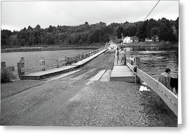 Greeting Card featuring the photograph Brookfield, Vt - Floating Bridge 5 Bw by Frank Romeo