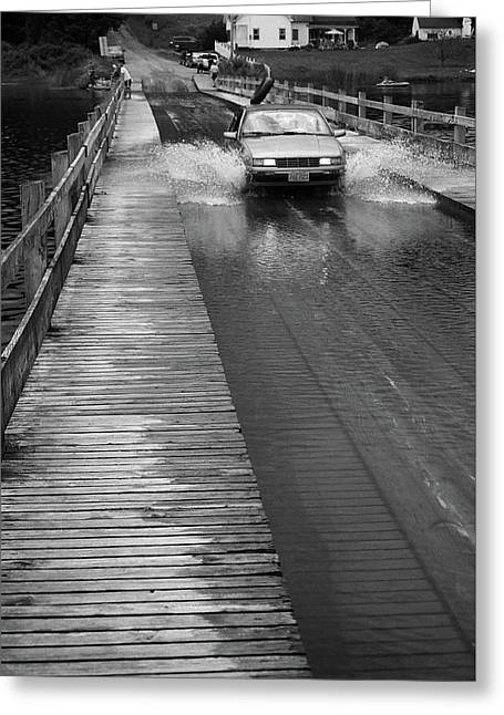 Greeting Card featuring the photograph Brookfield, Vt - Floating Bridge Bw by Frank Romeo