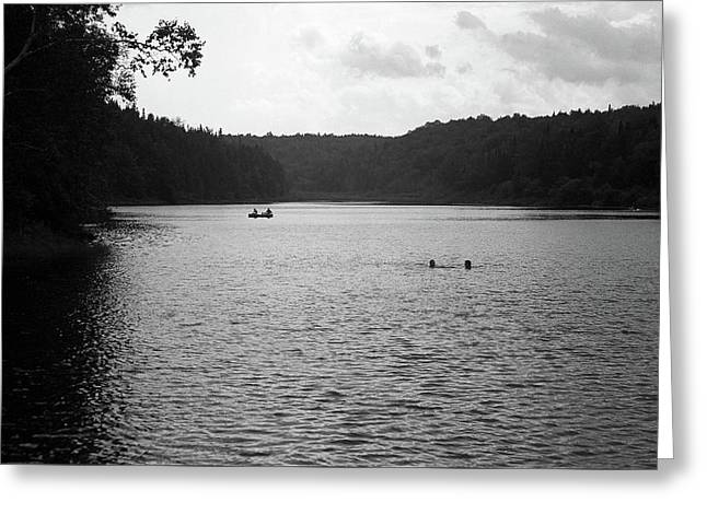 Greeting Card featuring the photograph Brookfield, Vt - Swimming Hole Bw 2 by Frank Romeo