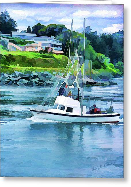 Brookings Boat Oil Painting Greeting Card