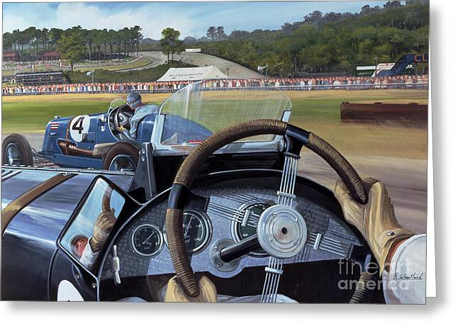 Cockpit Greeting Cards - Brooklands From the Hot Seat  Greeting Card by Richard Wheatland
