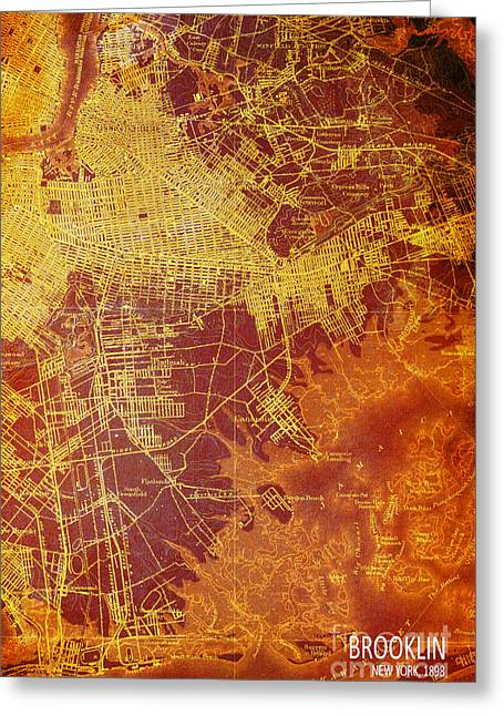 Brooklin New York Vintage Map Greeting Card by Pablo Franchi