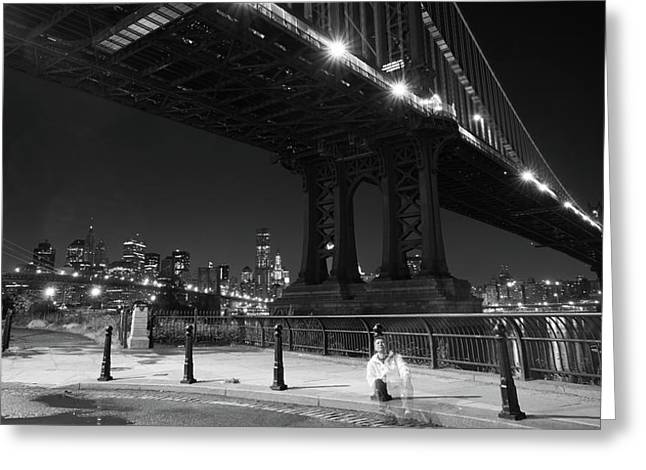 Brooklyn And Manhattan Bridges Greeting Card