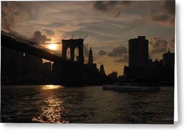 Brooklyn Bridge - Sunset Greeting Card