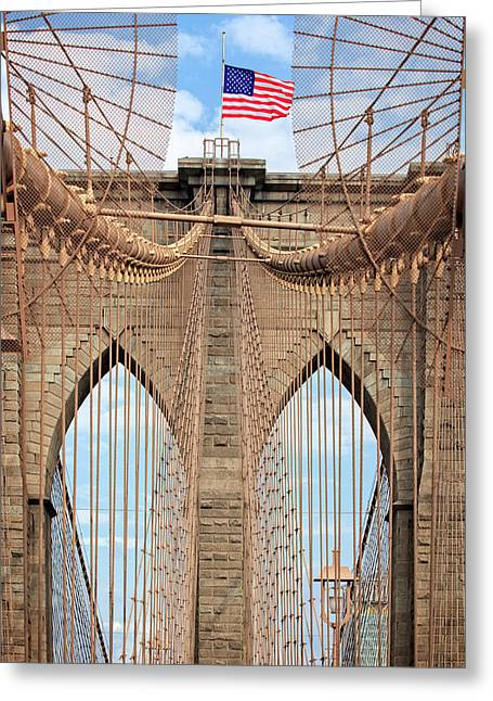 Greeting Card featuring the photograph Brooklyn Bridge 2  by Emmanuel Panagiotakis