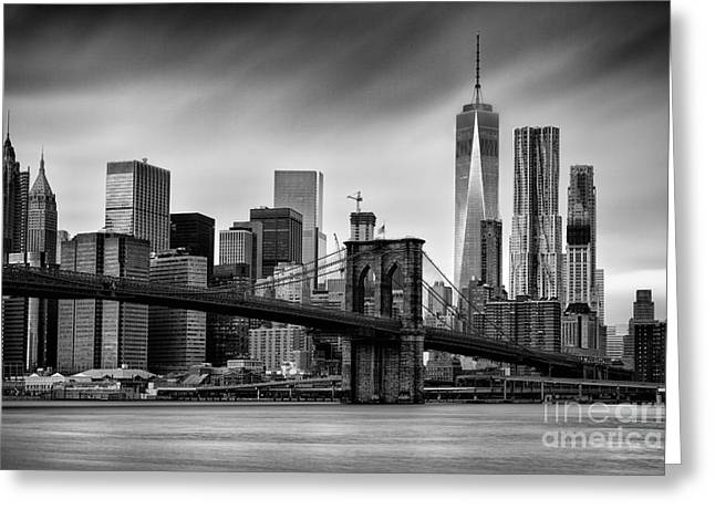 Brooklyn Bridge And Trade Centre Greeting Card by John Farnan
