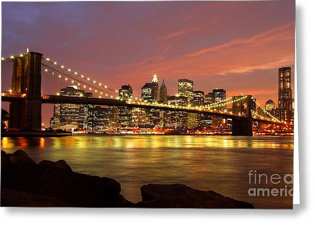 Brooklyn Bridge At Night Greeting Card by Holger Ostwald