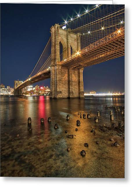 Greeting Card featuring the photograph Brooklyn Bridge At Night by Mark Dodd