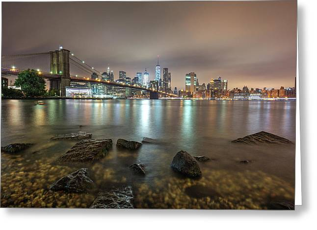 Greeting Card featuring the photograph Brooklyn Bridge At Sunrise  by Emmanuel Panagiotakis