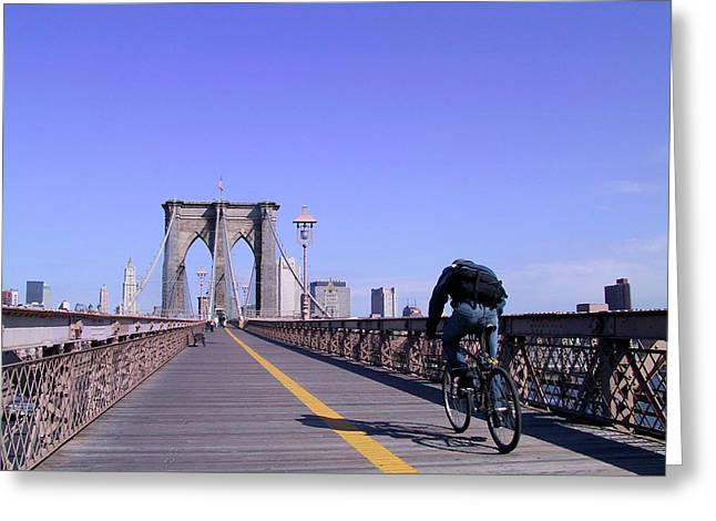 Brooklyn Bridge Bicyclist Greeting Card