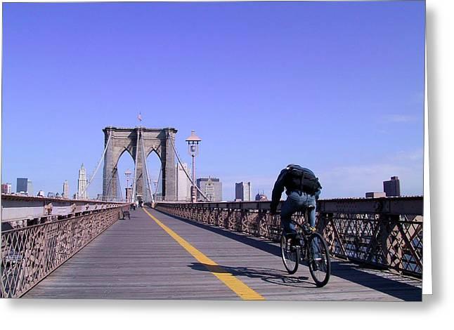Brooklyn Bridge Bicyclist Greeting Card
