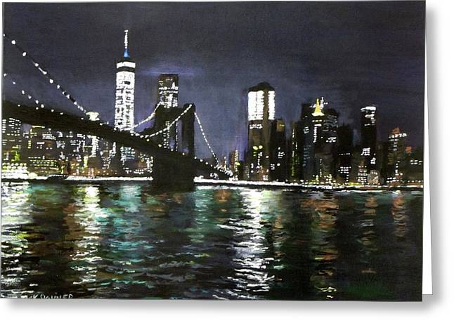 Brooklyn Bridge, East River At Night Greeting Card