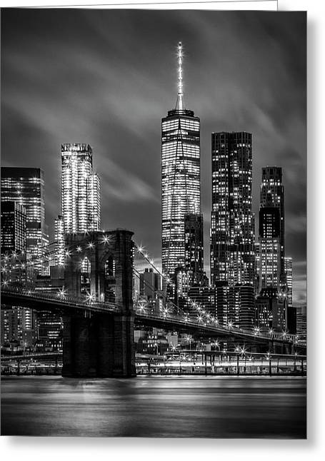 Brooklyn Bridge Evening Atmosphere In New York City - Monochrome Greeting Card