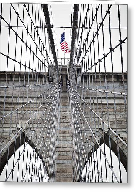 Brooklyn Bridge Flag Greeting Card