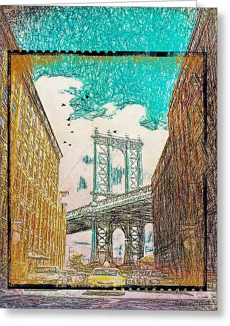 Manhattan Bridge From The East Side Greeting Card