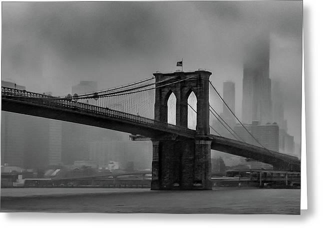 Brooklyn Bridge In A Storm 2 Greeting Card