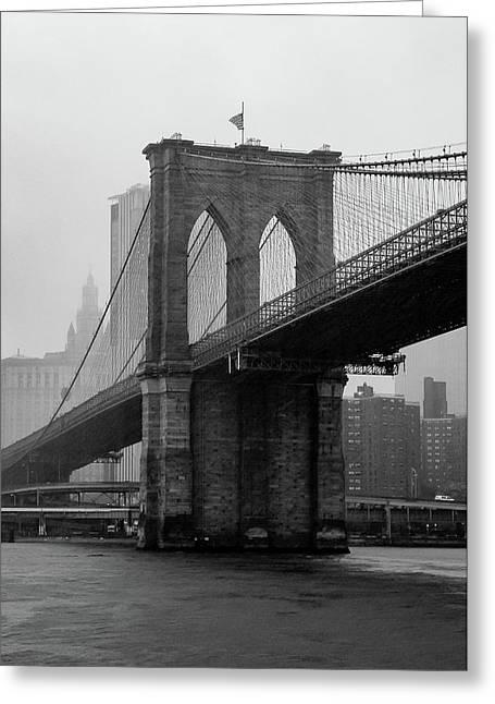 Brooklyn Bridge In A Storm Greeting Card