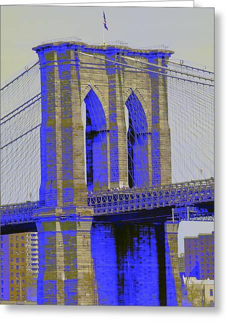 Brooklyn Bridge In Blue Greeting Card by Christopher Kirby