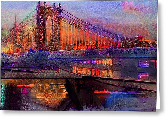 Greeting Card featuring the digital art Brooklyn Bridge by Iowan Stone-Flowers