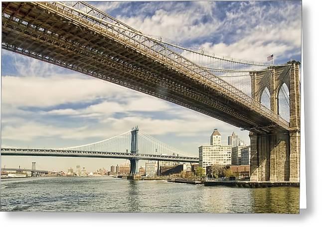 Brooklyn Bridge Greeting Card by John Amelia