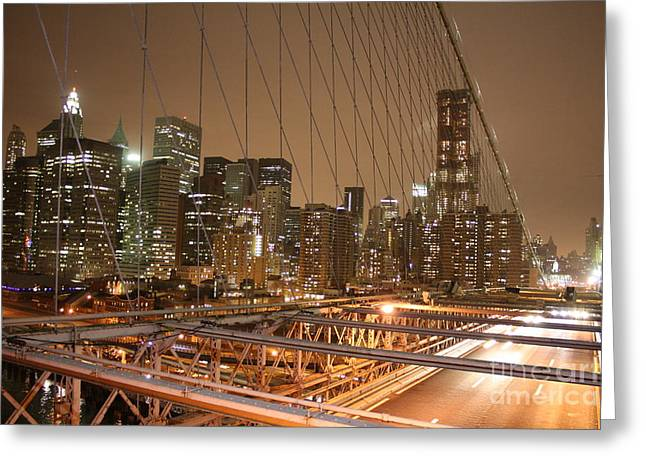 Greeting Card featuring the photograph Brooklyn Bridge Night Sky by Wilko Van de Kamp