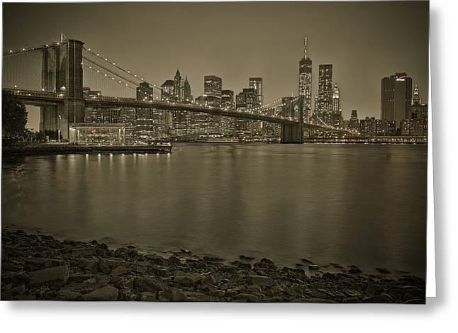 Brooklyn Bridge Nyc Skyline Sepia Greeting Card