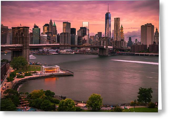Greeting Card featuring the photograph Brooklyn Bridge Over New York Skyline At Sunset by Ranjay Mitra
