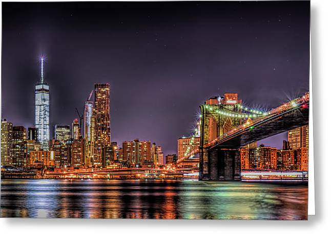 Greeting Card featuring the photograph Brooklyn Bridge Park Nights by Theodore Jones