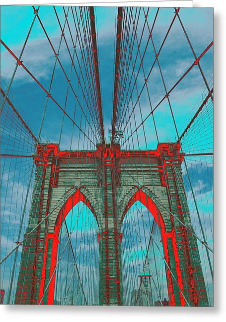 Brooklyn Bridge Red Shadows Greeting Card by Christopher Kirby