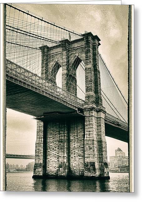 Brooklyn Bridge Sepia Greeting Card by Jessica Jenney