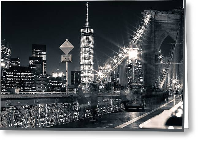 Brooklyn Bridge Greeting Card by Silvia Bruno