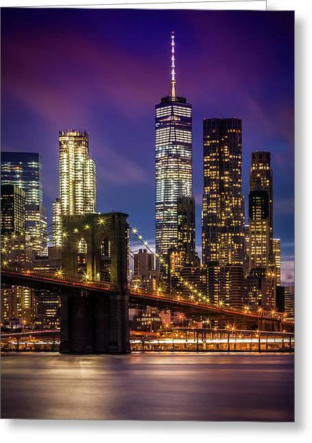 Brooklyn Bridge Sunset Above New York City Greeting Card