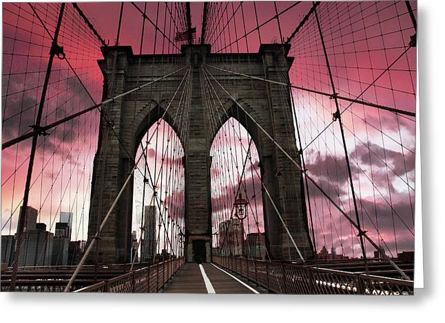 Brooklyn Bridge Sunset Silhouette Greeting Card by Jessica Jenney