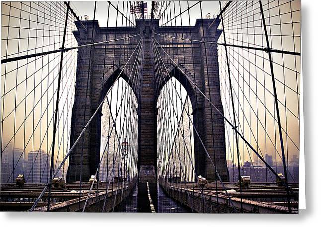 Brooklyn Bridge Suspension Cables Greeting Card by Ray Devlin