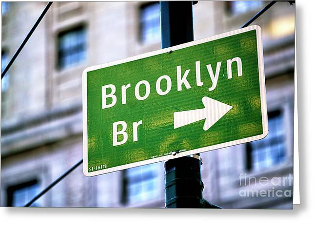 Greeting Card featuring the photograph Brooklyn Bridge This Way by John Rizzuto