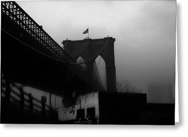 Brooklyn Bridge Through The Windshield Greeting Card by Todd Fox
