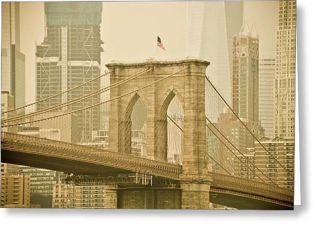 Brooklyn Bridge Greeting Card by Trish Tritz